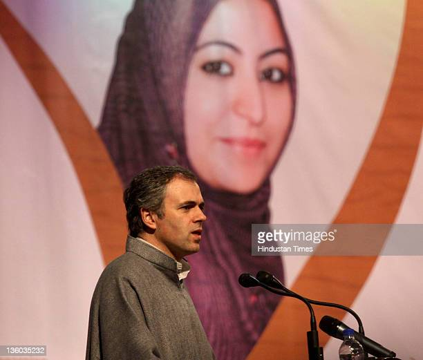 Jammu Kashmir chief minister Omar Abdullah gives a speech during a function held for the distribution of appointment letters under Himayat project...