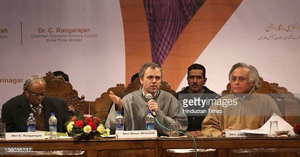 Jammu Kashmir Chief Minister Omar Abdullah with Union Rural Development Minister Jairam Ramesh and C Rangarajan chairman Economic Advisory Council to...
