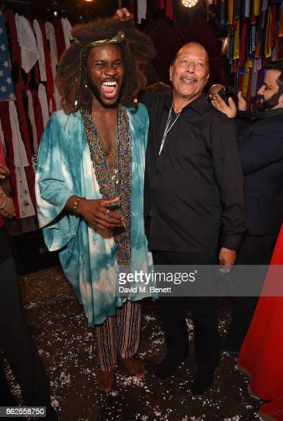 Jammy Kasongo and Peter Straker attend the 50th anniversary production of 'Hair The Musical' at The Vaults on October 17 2017 in London England
