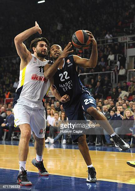 Jamon Gordon #22 of Anadolu Efes Istanbul competes with Linas Kleiza #11 of Fenerbahce Ulker Istanbul in action during the 20132014 Turkish Airlines...