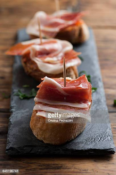 Jamon Serrano montadito on toasted bread