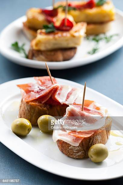 JamonSerrano, Olive and Tortilla tapas montaditos
