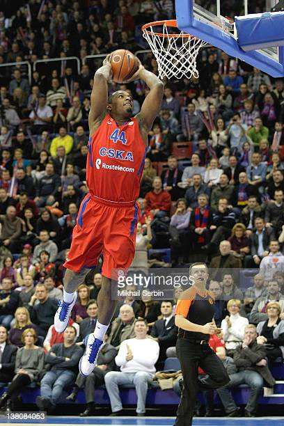 Jamont Gordon #44 of CSKA Moscow in action during 20112012 Turkish Airlines Euroleague TOP 16 Game Day 3 between CSKA Moscow v Galatasaray Medical...