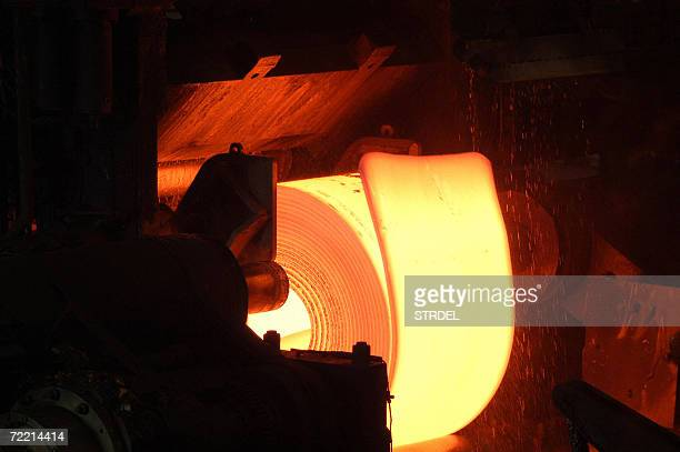 In this picture taken 07 October 2006, Steel is processed at India's Tata Steel Plant in Jamshedpur. India's Tata Steel is likely to make a formal...