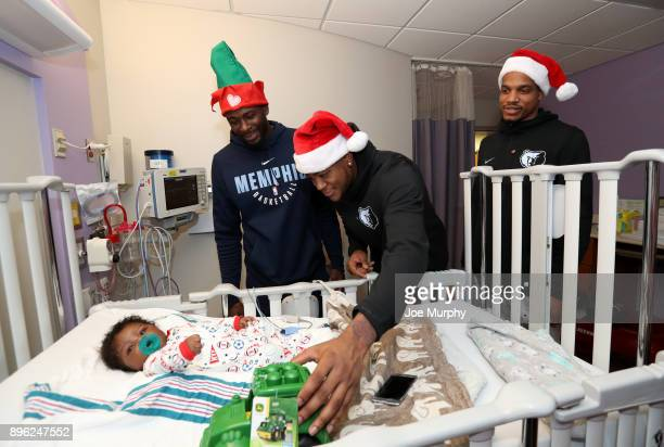 JaMychal Green and James Ennis III of the Memphis Grizzlies visit with children on December 18 2017 at LeBonheur Children's Hospital in Memphis...
