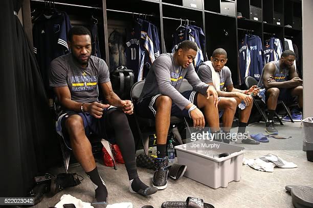 JaMychal Green Jarell Martin and Bryce Cotton of the Memphis Grizzlies gets ready before the game against the San Antonio Spurs in Game One of Round...