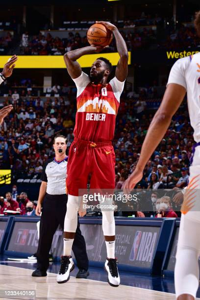 JaMychal Green of the Denver Nuggets shoots a three point basket against the Denver Nuggets during Round 2, Game 4 of the 2021 NBA Playoffs on June...