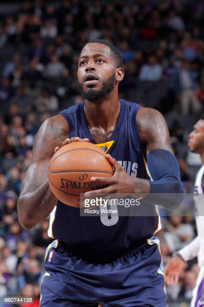 JaMychal Green of the Memphis Grizzlies attempts a freethrow shot against the Sacramento Kings on March 27 2017 at Golden 1 Center in Sacramento...