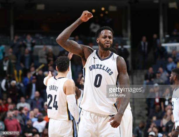 JaMychal Green of the Memphis Grizzlies celebrates a win against the New York Knicks on January 17 2018 at FedExForum in Memphis Tennessee NOTE TO...