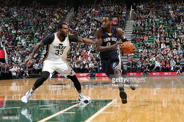 JaMychal Green of the Memphis Grizzlies drives to the basket against Trevor Booker of the Utah Jazz on November 7 2015 at Vivint Smart Home Arena in...