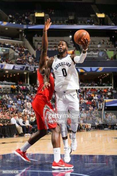 JaMychal Green of the Memphis Grizzlies drives to the basket during a preseason game against the Houston Rockets on October 11 2017 at FedExForum in...