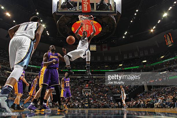 JaMychal Green of the Memphis Grizzlies dunks the ball against the Los Angeles Lakers on December 3 2016 at FedExForum in Memphis Tennessee NOTE TO...