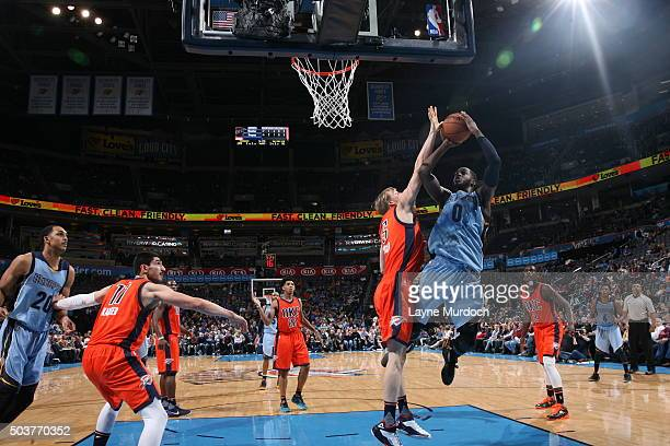 JaMychal Green of the Memphis Grizzlies goes to the basket against the Oklahoma City Thunder on January 6 2016 at Chesapeake Energy Arena in Oklahoma...