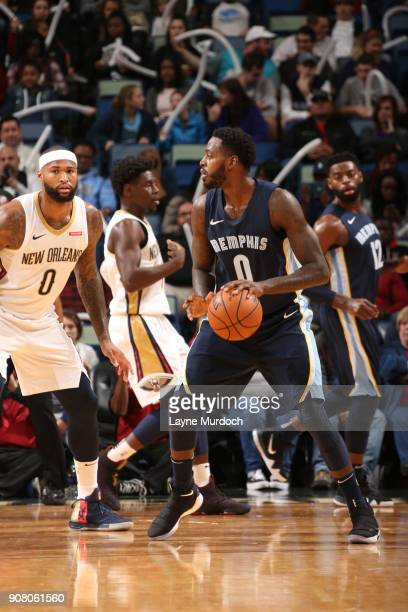 JaMychal Green of the Memphis Grizzlies handles the ball drives to the basket against the New Orleans Pelicans on January 20 2018 at the Smoothie...