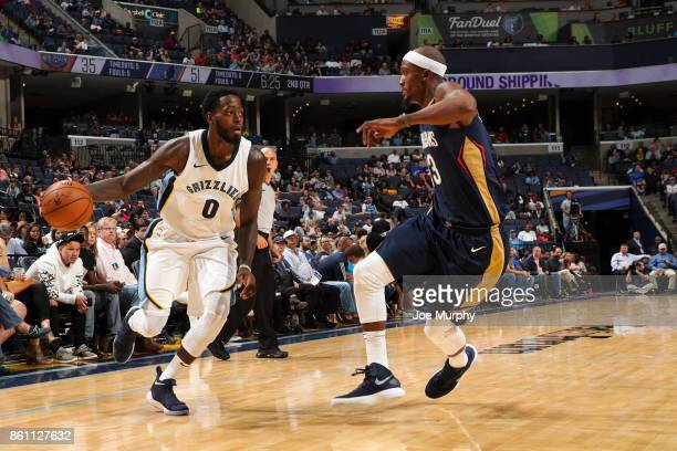 JaMychal Green of the Memphis Grizzlies handles the ball during a preseason game against the New Orleans Pelicans on October 13 2017 at FedExForum in...