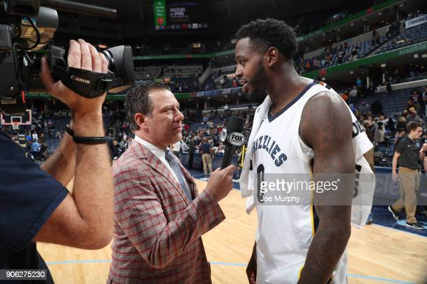 JaMychal Green of the Memphis Grizzlies is interviewed after defeating the New York Knicks on January 17 2018 at FedExForum in Memphis Tennessee NOTE...