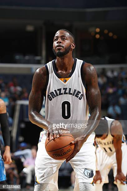 JaMychal Green of the Memphis Grizzlies shoots a free throw against the Orlando Magic during a preseason game on October 3 2016 at FedExForum in...