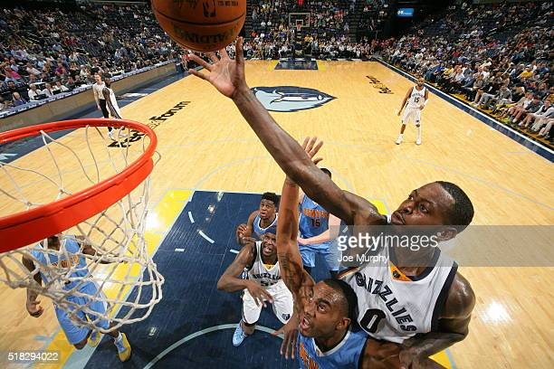 JaMychal Green of the Memphis Grizzlies shoots the ball against the Denver Nuggets on March 30 2016 at FedExForum in Memphis Tennessee NOTE TO USER...