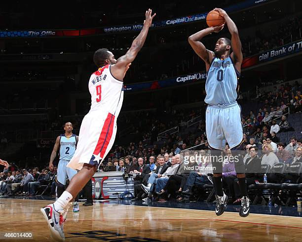 JaMychal Green of the Memphis Grizzlies takes a shot against the Washington Wizards on March 12 2015 at Verizon Center in Washington DC NOTE TO USER...