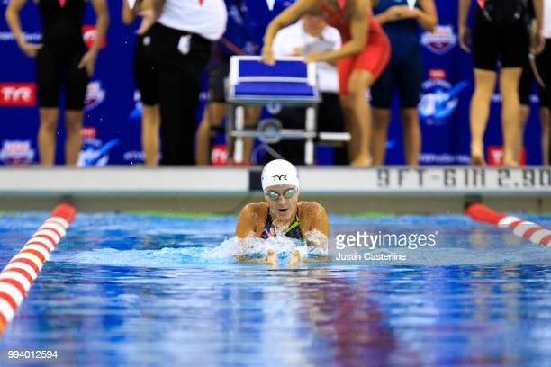Jamyson Robb competes in the women's 100m breaststroke prelims at the 2018 TYR Pro Series on July 8 2018 in Columbus Ohio