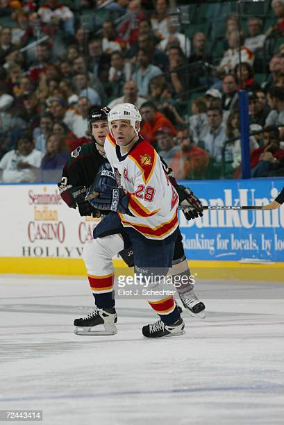 Jason Wiemer of the Florida Panthers in action against the Phoenix Coyotes during the game at National Car Rental Center in Sunrise Florida The...
