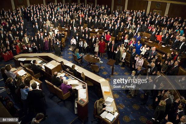 House Speaker Nancy Pelosi DCalif delivers oath of office to members during the opening session of the 111th Congress in the House of Representatives...