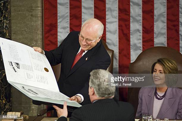 Vice President Dick Cheney and House Speaker Nancy Pelosi DCalif preside over a joint session to count Electoral College ballots for president and...