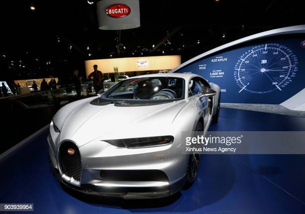 BRUSSELS Jan 10 2018 Photo taken on Jan 10 2018 shows the Bugatti Chiron during the media day of the 96th European Motor Show in Brussels Belgium