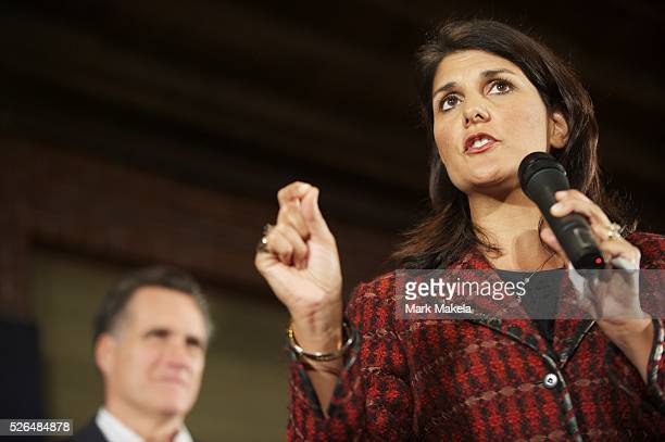 Jan 11 2012 Columbia SC USA Republican Presidential candidate MITT ROMNEY and South Carolina Governor NIKKI HALEY hold a grassroots rally at The Hall...