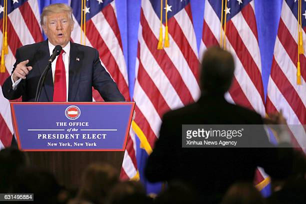 Jan. 11, 2017 -- U.S. President-elect Donald Trump speaks during a news conference in New York, the United States, on Jan. 11, 2017. U.S....
