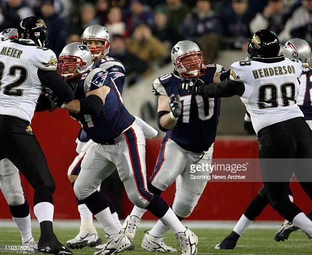 Jan 12, 2008 - Foxboro, Massachusetts, USA - NFL Football: Jacksonville Jaguars against New England Patriots DAN KOPPEN and LOGAN MANKINS at Gillette...