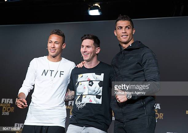 ZURICH Jan 12 2016 The nominees for the 2015 FIFA World Player of the Year from left to right FC Barcelona's Neymar of Brazil his team mate Lionel...