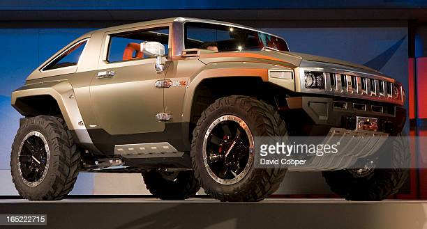 Jan 13 2008 The new greener E85 burning Hummer HX Concept arriving on stage at the GM booth during the first media day of NAIAS 2008 The North...