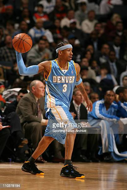 Jan 14 2008 Charlotte North Carolina USA NBA Basketball Denver Nuggets' ALLEN IVERSON passes against the Charlotte Bobcats on Jan 14 2008 in...