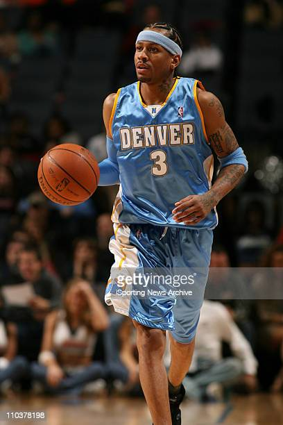 Jan 14 2008 Charlotte North Carolina USA NBA Basketball Denver Nuggets' ALLEN IVERSON brings the ball down the court against the Charlotte Bobcats on...