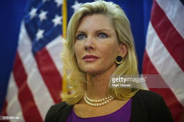 Jan 16 2012 Myrtle Beach SC USA KAREN HUNTSMAN wife to Presidential candidate Jon looks on as he announced at a press conference that he would drop...