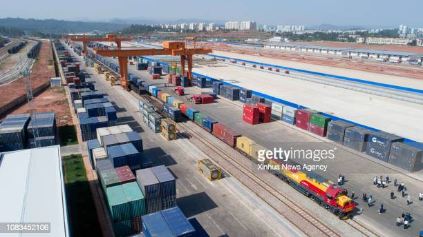 Jan. 17, 2019 -- A freight train loaded with fertilizer and coffee beans left Kunming of southwest China's Yunnan for Qinzhou port in neighboring...