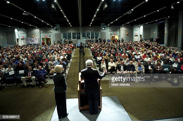 Jan 19 2012 Blufton SC US Republican Presidential candidate NEWT GINGRICH greets supporters front row with a space reserved for him when arriving to...