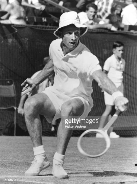 Rod Laver on his way to claiming the Men's Australian Singles Title by beating Roy Emerson in the final Mandatory Credit Allsport Hulton/Archive