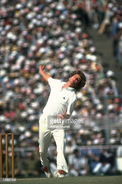 England Captain Bob Willis in action during the Fourth Test match against India at Eden Gardens in Calcutta India The match ended in a draw Mandatory...