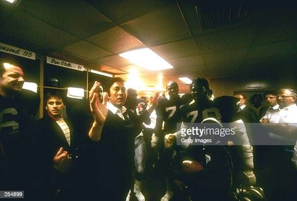 Head coach Tom Flores of the Los Angeles Raiders gives his victory speech in the locker room after Super Bowl XVIII against the Washington Redskins...