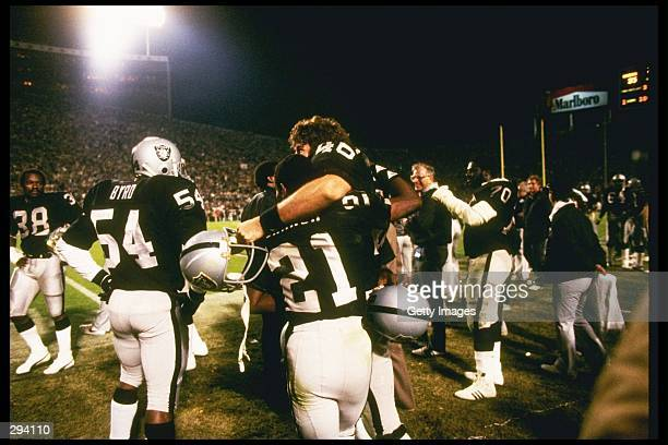 The Los Angeles Raiders celebrate after Super Bowl XVIII against the Washington Redskins at Tampa Stadium in Tampa Florida The Raiders won the game...