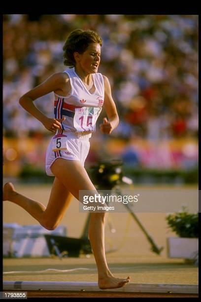 Zola Budd in action during the 1984 Summer Olympics in Los Angeles California