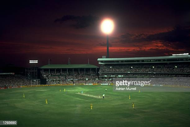 General view of a natural sunset during a match between Australia and England at the Sydney Cricket Ground in Australia. \ Mandatory Credit: Adrian...