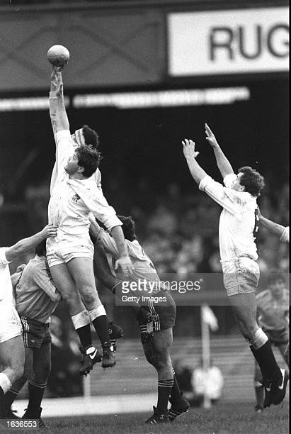 John Orwin of England competes in a lineout during a match against Romania at Twickenham in London England won the match 2215 Mandatory Credit...