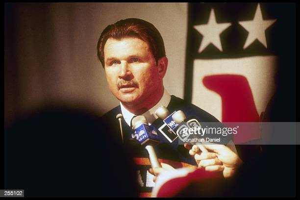 Head coach Mike Ditka of the Chicago Bears is interviewed at a press conference proir to Super Bowl XX game with the New England Patriots at the...