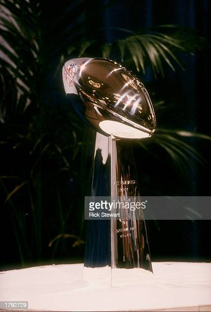 General view of the Vince Lombardi Trophy at the commissioner''s press conference prior to the Super Bowl XXII game between the Washington Redskins...