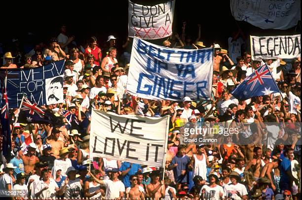 General view of the Australian crowd during the Benson and Hedges World Series first final against the West Indies at Melbourne Cricket Ground in...
