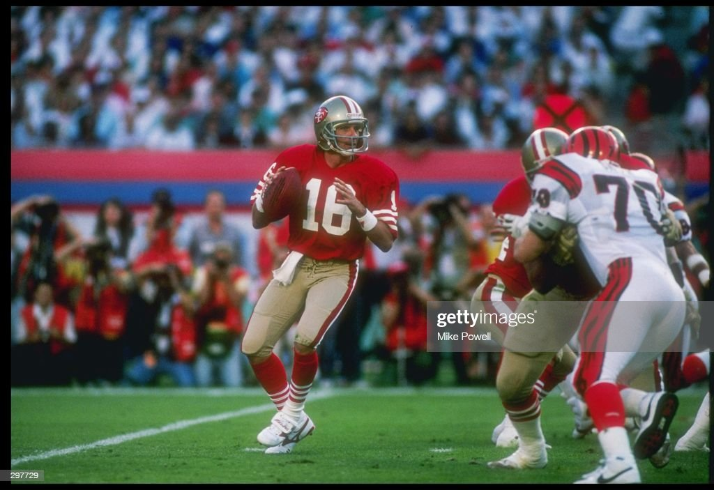 Quarterback Joe Montana #16 of the San Francisco 49ers is looking to pass during the Super Bowl XXIII game against the Cincinnati Bengals at the Joe Robbie Stadium in Miami, Florida. The 49ers won, 20-16. Mandatory Credit: Mike Powell /All