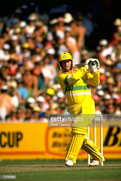 Steve Waugh of Australia in action during the Benson and Hedges World Series final against the West Indies at Melbourne Cricket Ground in Australia...